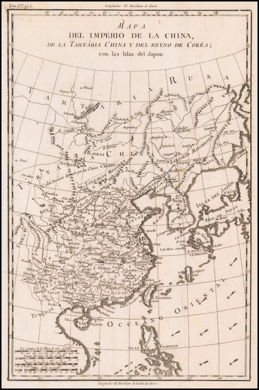 90-China, Korea and Russia in Asia Map By Pedro de Gongora y Lujan,  Duque de Almodovar