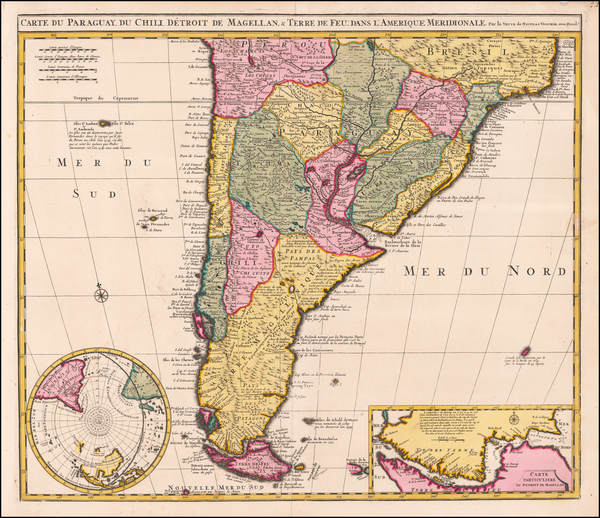 68-Argentina, Chile, Paraguay & Bolivia and Uruguay Map By Claes Janszoon Visscher