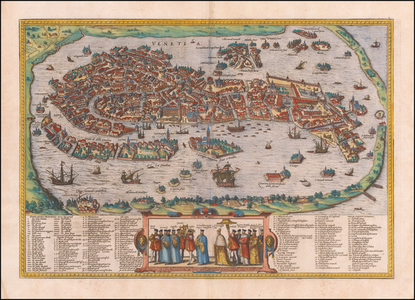 40-Venice Map By Georg Braun  &  Frans Hogenberg
