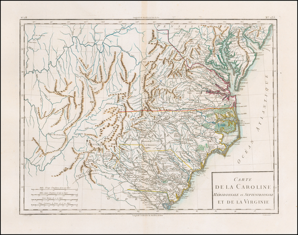 69-South, Southeast, Virginia, North Carolina and South Carolina Map By Pierre Antoine Tardieu