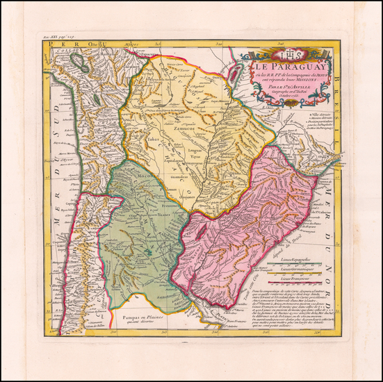 60-Argentina, Chile and Paraguay & Bolivia Map By Jean-Baptiste Bourguignon d'Anville