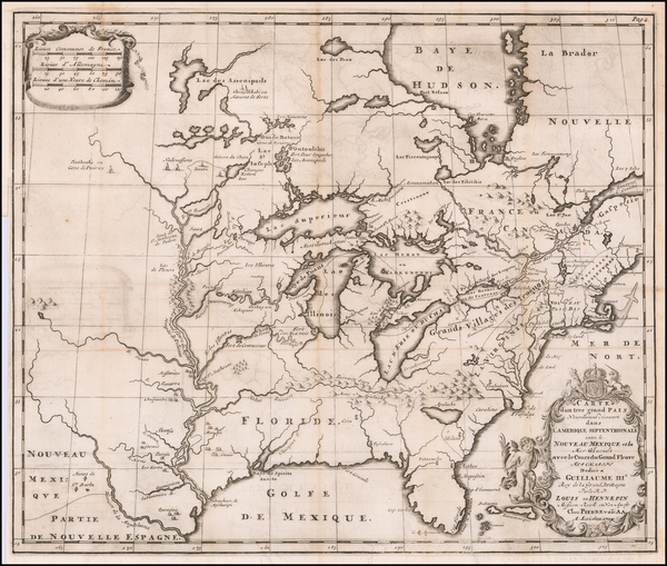 5-United States, Texas, Midwest and North America Map By Louis de Hennepin