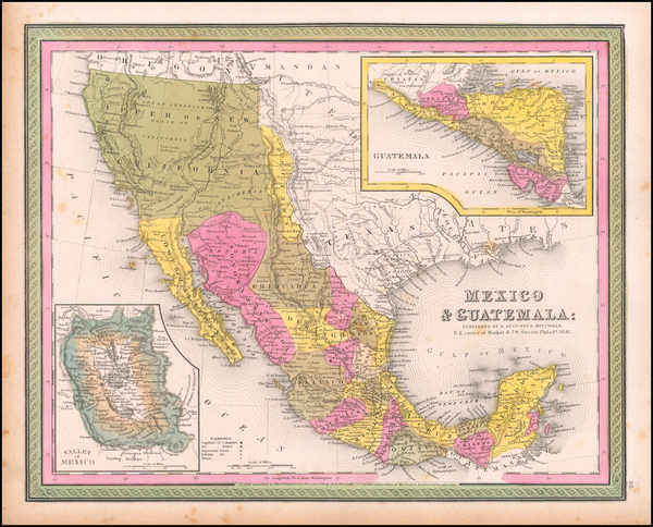 Texas, Southwest, Mexico and California Map By Samuel Augustus Mitchell