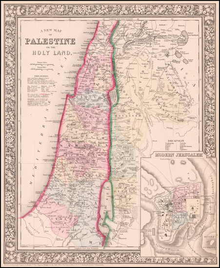 93-Holy Land Map By Samuel Augustus Mitchell Jr.