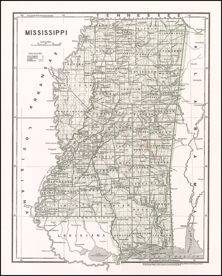 20-Mississippi Map By Sidney Morse  &  Samuel Breese