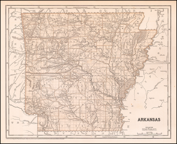 Arkansas Map By Sidney Morse  &  Samuel Breese