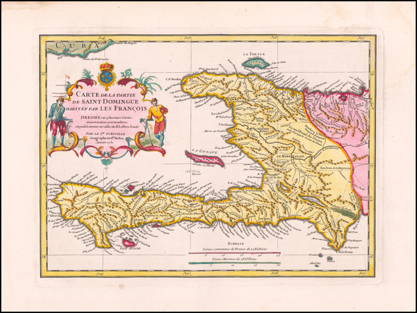 52-Caribbean and Hispaniola Map By Jean-Baptiste Bourguignon d'Anville