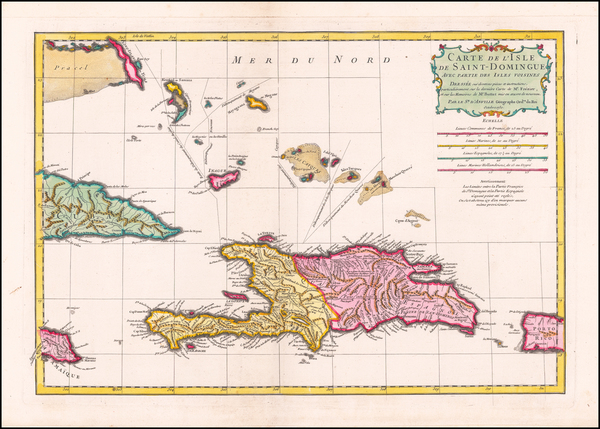 88-Caribbean, Hispaniola and Bahamas Map By Jean-Baptiste Bourguignon d'Anville