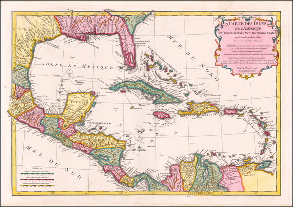 66-Florida, Caribbean and Central America Map By Jean-Baptiste Bourguignon d'Anville