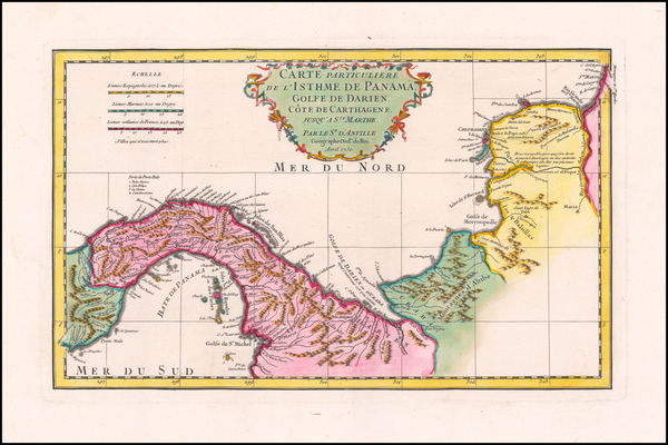 14-Caribbean, Central America and Colombia Map By Jean-Baptiste Bourguignon d'Anville