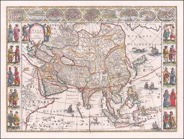 66-Asia Map By Willem Janszoon Blaeu