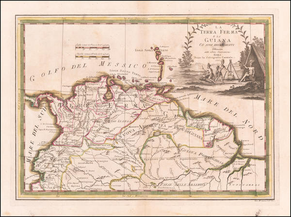 55-Colombia, Guianas & Suriname and Venezuela Map By Giovanni Maria Cassini