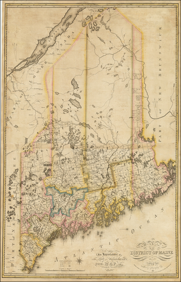32-New England and Maine Map By Moses Greenleaf