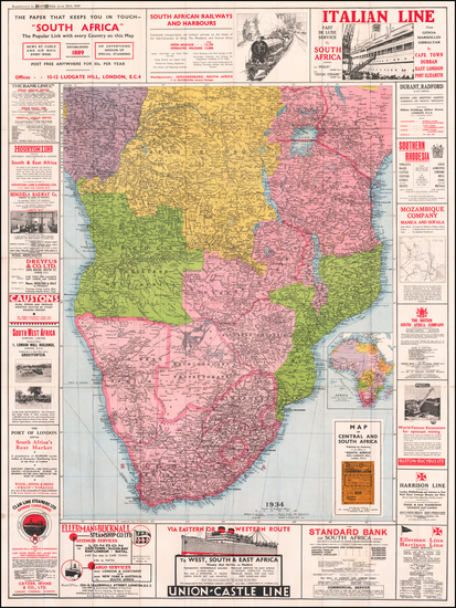 79-Africa, South Africa, East Africa and West Africa Map By Sir Joseph Causton & Sons