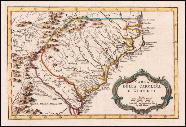 90-Southeast, Georgia, North Carolina and South Carolina Map By Jacques Nicolas Bellin