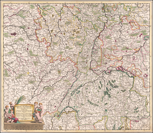 42-Switzerland, France and Germany Map By Theodorus I Danckerts