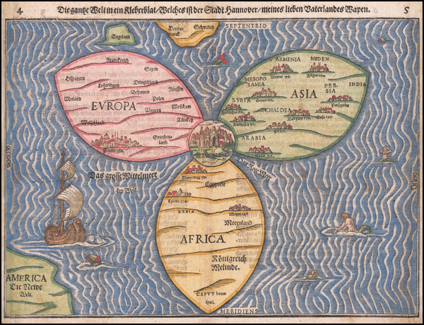 37-World, Holy Land and Curiosities Map By Heinrich Buenting