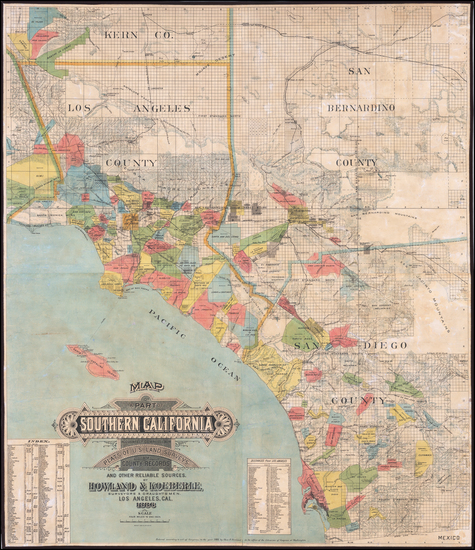 36-California and Los Angeles Map By Schmidt Label & Litho. Co. / Howland & Koeberle