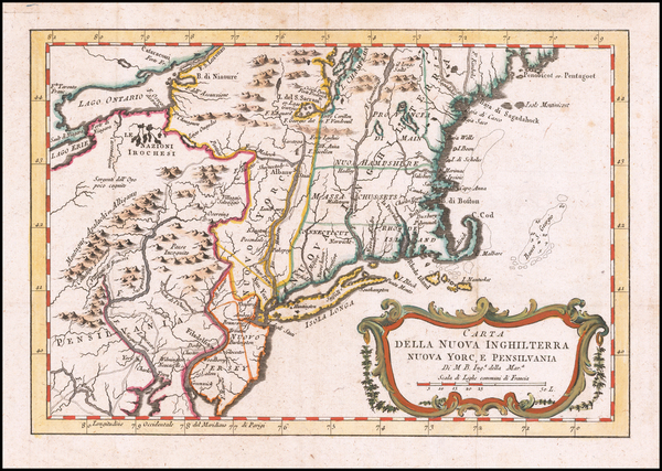 4-New England, New York State and Mid-Atlantic Map By Jacques Nicolas Bellin