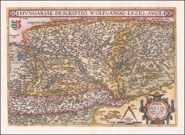 85-Austria, Hungary, Romania and Balkans Map By Abraham Ortelius