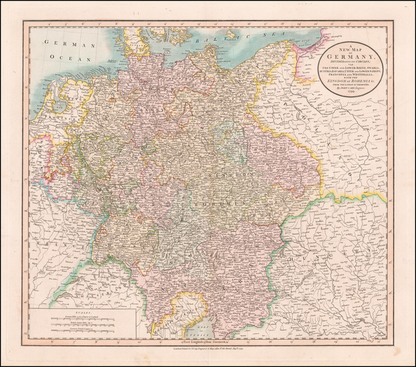 20-Germany, Austria, Czech Republic & Slovakia and Baltic Countries Map By John Cary