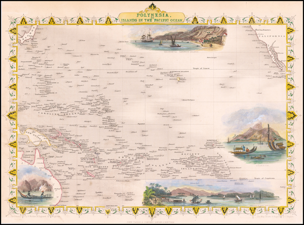 93-Australia & Oceania, Pacific, Oceania, Hawaii and Other Pacific Islands Map By John Tallis