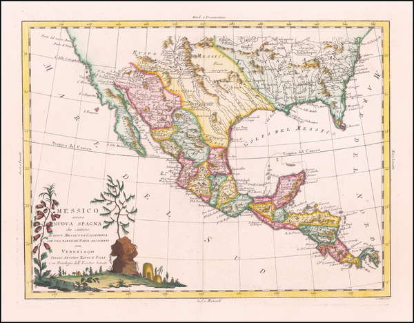 45-South, Texas, Plains, Southwest and Mexico Map By Antonio Zatta