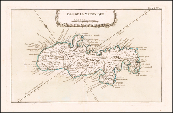 1-Martinique Map By Jacques Nicolas Bellin