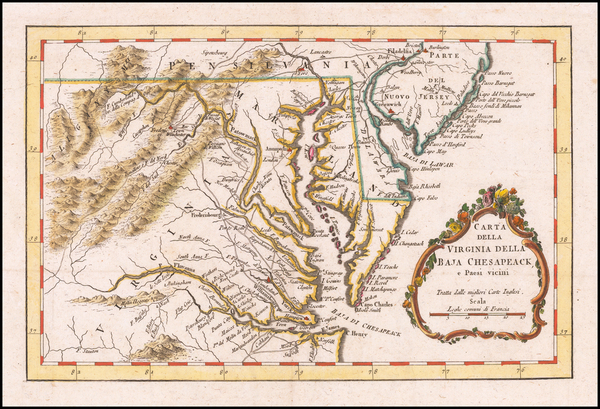 92-Maryland, Delaware, Southeast and Virginia Map By Gazzetiere Americano
