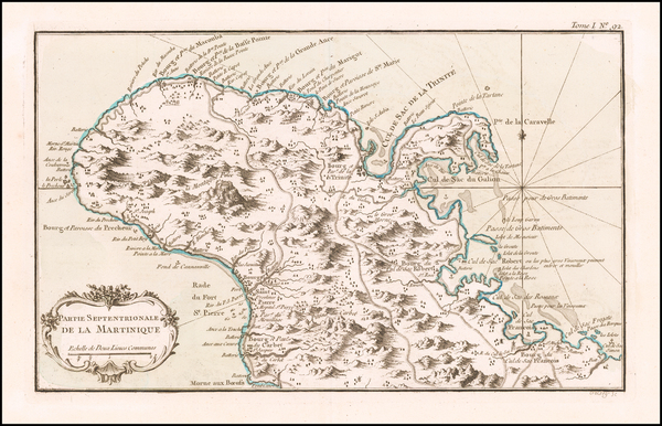 32-Other Islands and Martinique Map By Jacques Nicolas Bellin