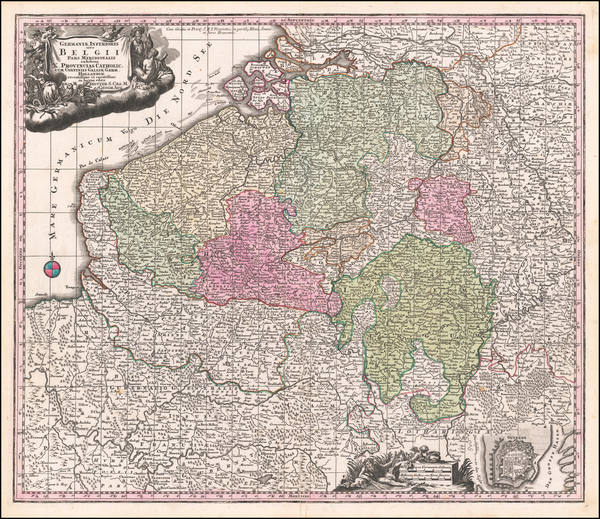 68-Netherlands Map By Matthaus Seutter