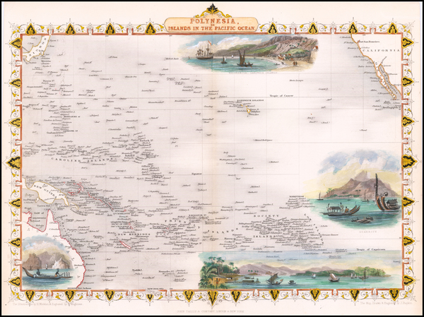 76-Australia & Oceania, Pacific, Oceania, Hawaii and Other Pacific Islands Map By John Tallis