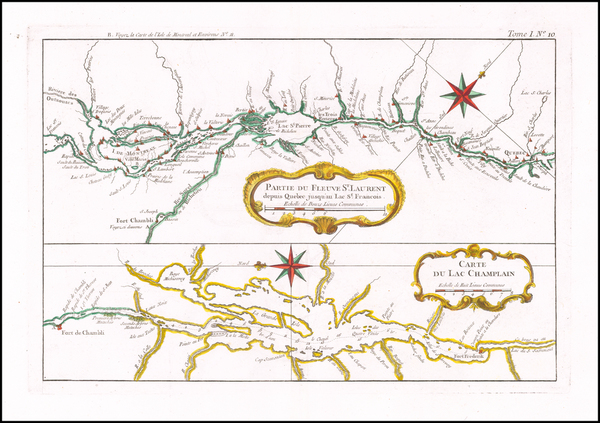 100-New England, Vermont, New York State and Canada Map By Jacques Nicolas Bellin