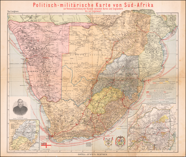 75-South Africa Map By Justus Perthes - Paul Langhans