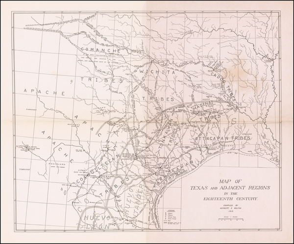 Texas and Southwest Map By Herbert Eugene Bolton