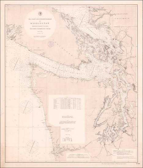 25-Washington and Canada Map By U.S. Coast & Geodetic Survey