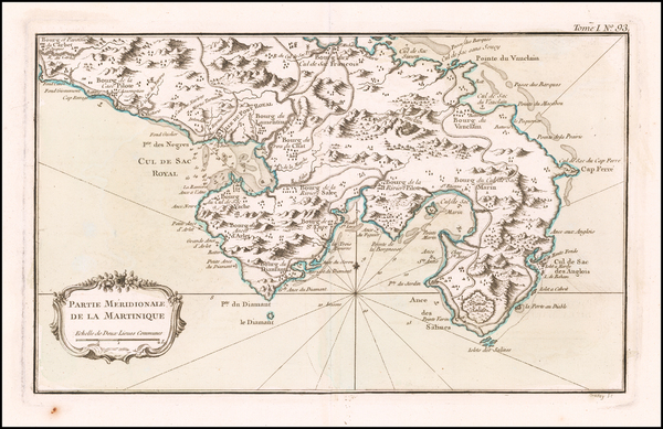 41-Other Islands and Martinique Map By Jacques Nicolas Bellin