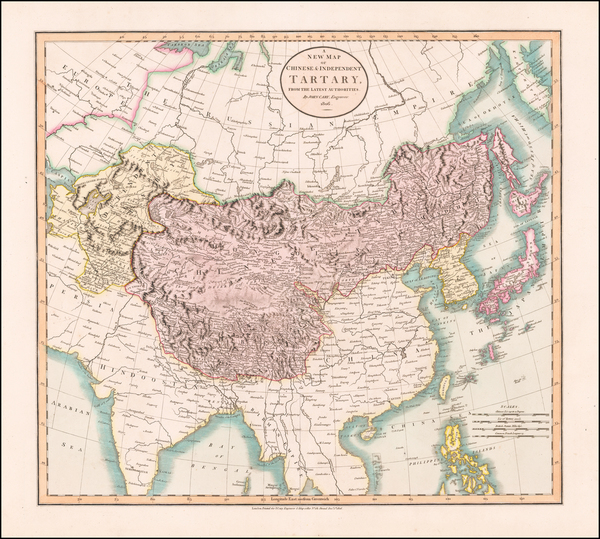 46-China, Korea, Central Asia & Caucasus and Russia in Asia Map By John Cary