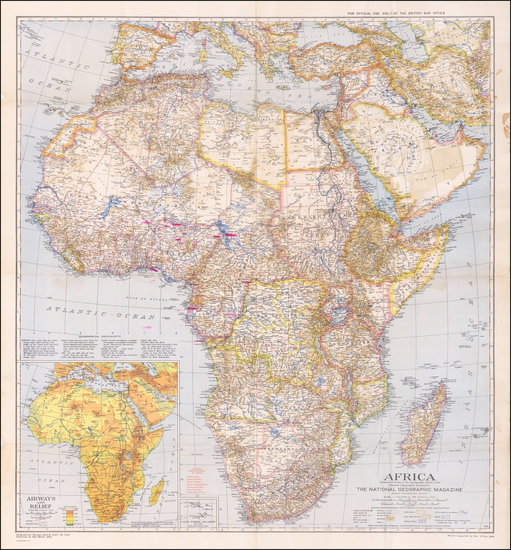 70-Africa and World War II Map By National Geographic Society / War Office