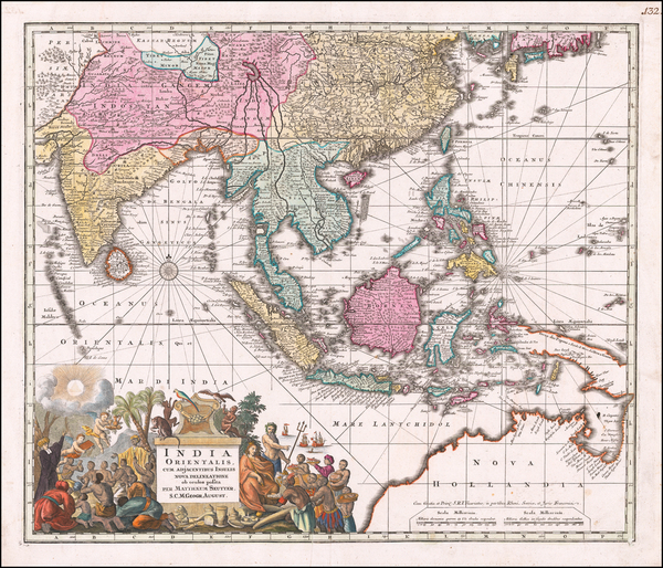 India, Southeast Asia, Philippines and Australia Map By Matthaus Seutter