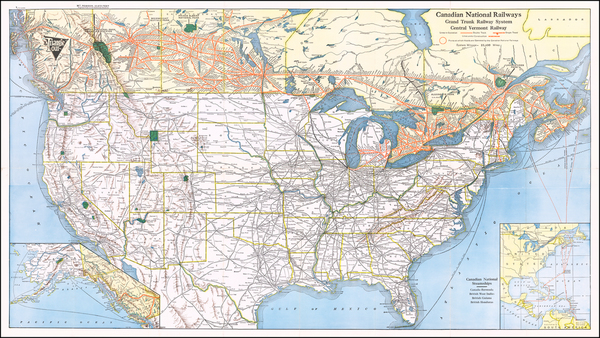 United States and Canada Map By Canadian National Railway