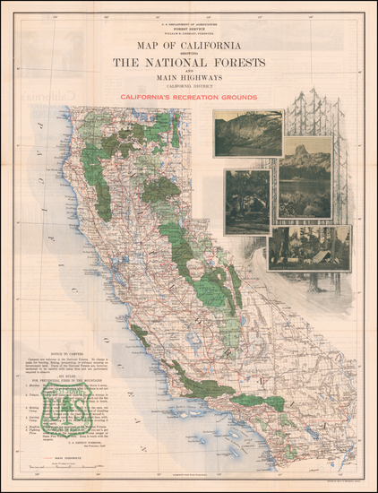 California Map By United States Forest Service