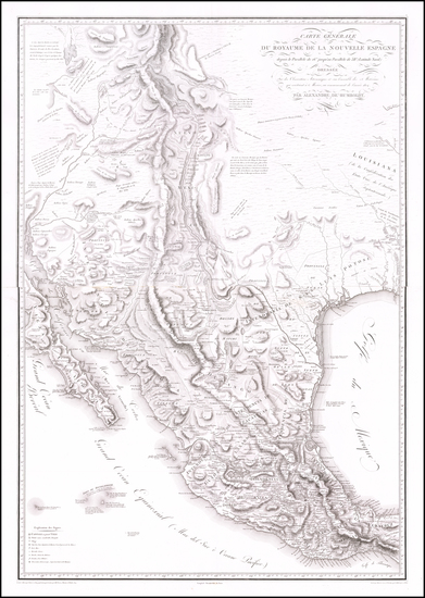 40-Texas, Plains, Southwest, Rocky Mountains, Mexico and California Map By Alexander Von Humboldt
