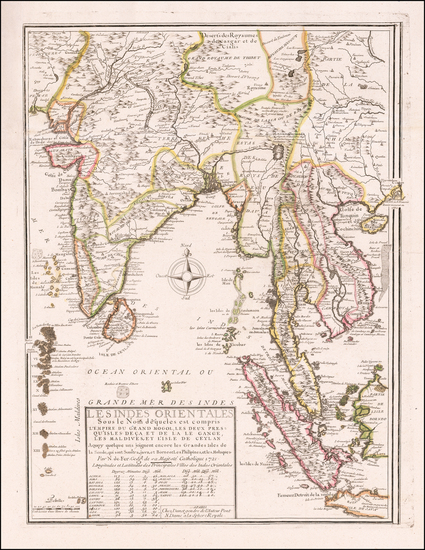 62-India, Southeast Asia, Singapore and Malaysia Map By Nicolas de Fer