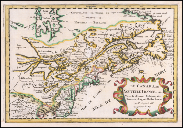 63-New England, Mid-Atlantic, Midwest and Canada Map By Nicolas Sanson