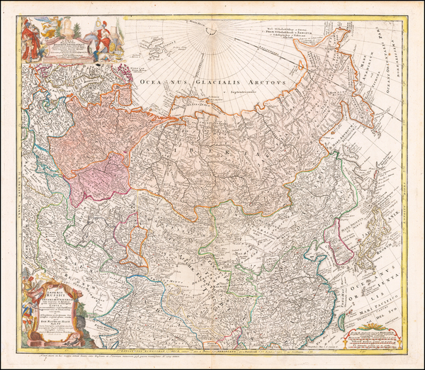 54-Russia, China, Central Asia & Caucasus and Russia in Asia Map By Homann Heirs / Johann Matt