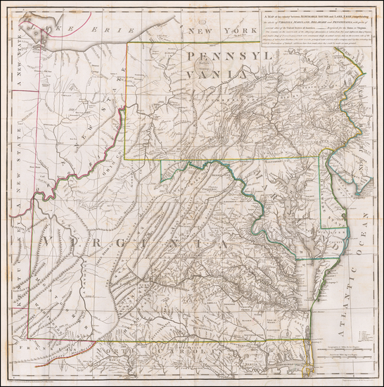 4-Mid-Atlantic, Pennsylvania, Maryland, Delaware and Virginia Map By Thomas Jefferson