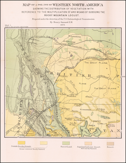 1-Idaho, Montana and Canada Map By United States Department of the Interior