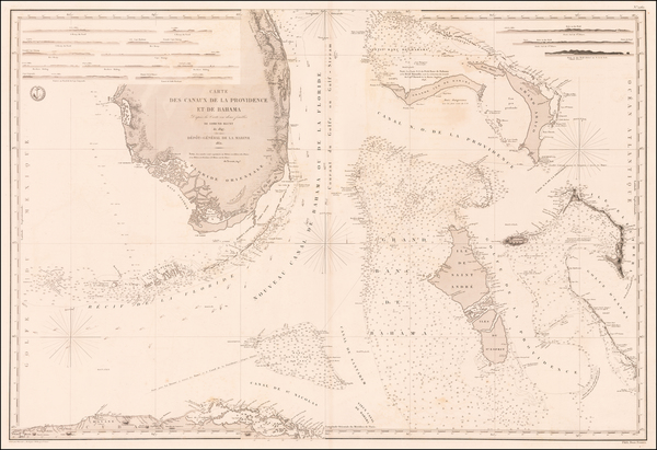 82-Florida and Bahamas Map By Depot de la Marine