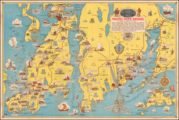 43-Massachusetts, Rhode Island and Pictorial Maps Map By H.W. Hetherington